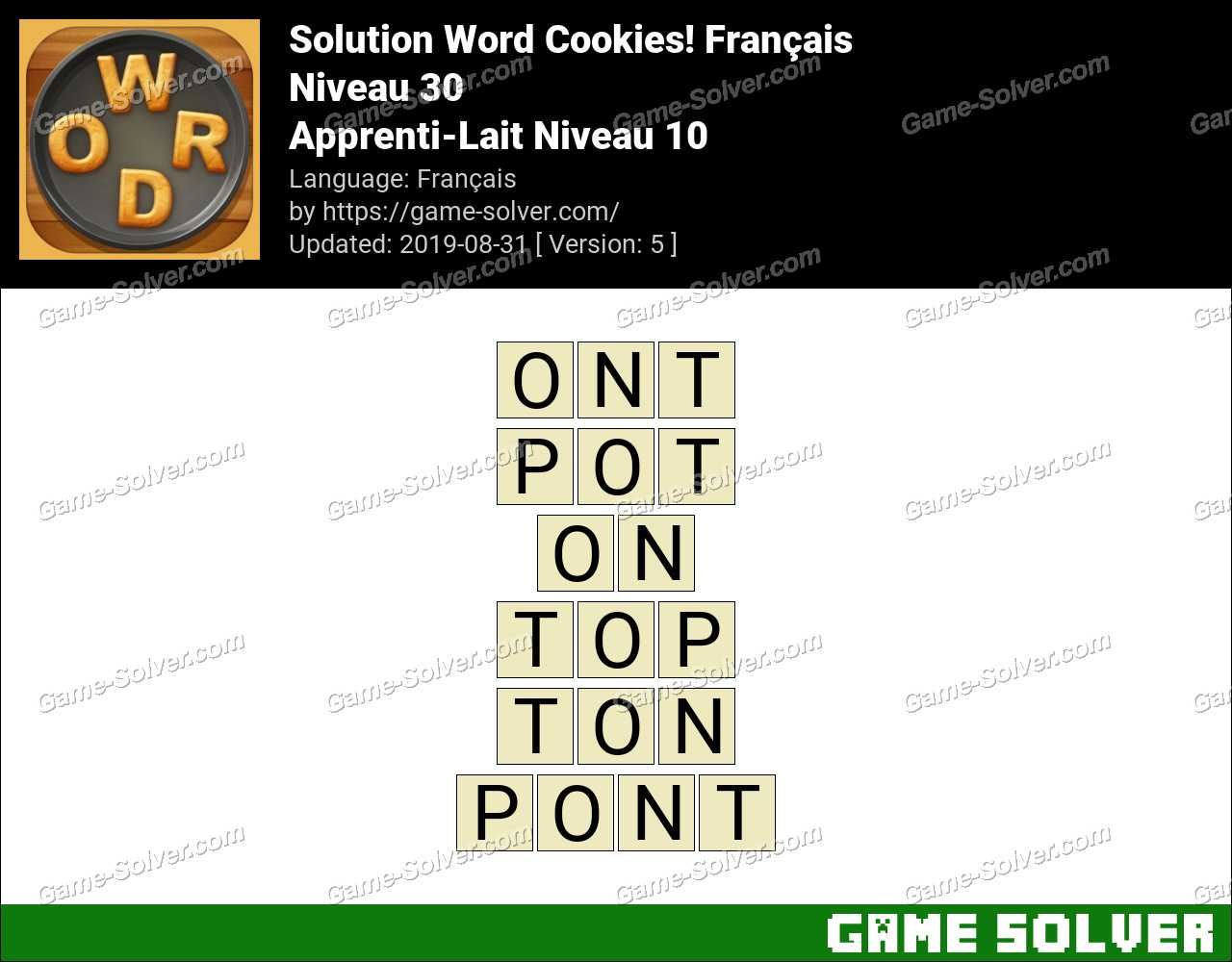 Solution Word Cookies Apprenti-Lait Niveau 10