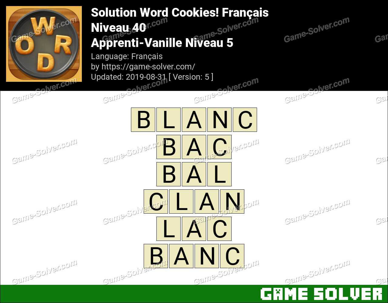 Solution Word Cookies Apprenti-Vanille Niveau 5