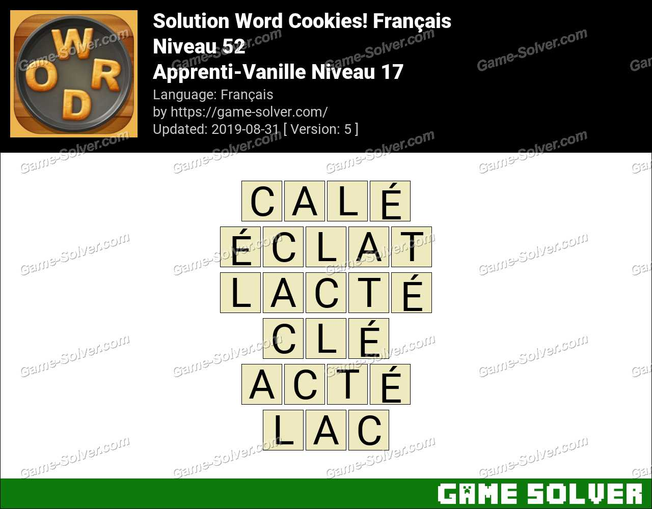 Solution Word Cookies Apprenti-Vanille Niveau 17
