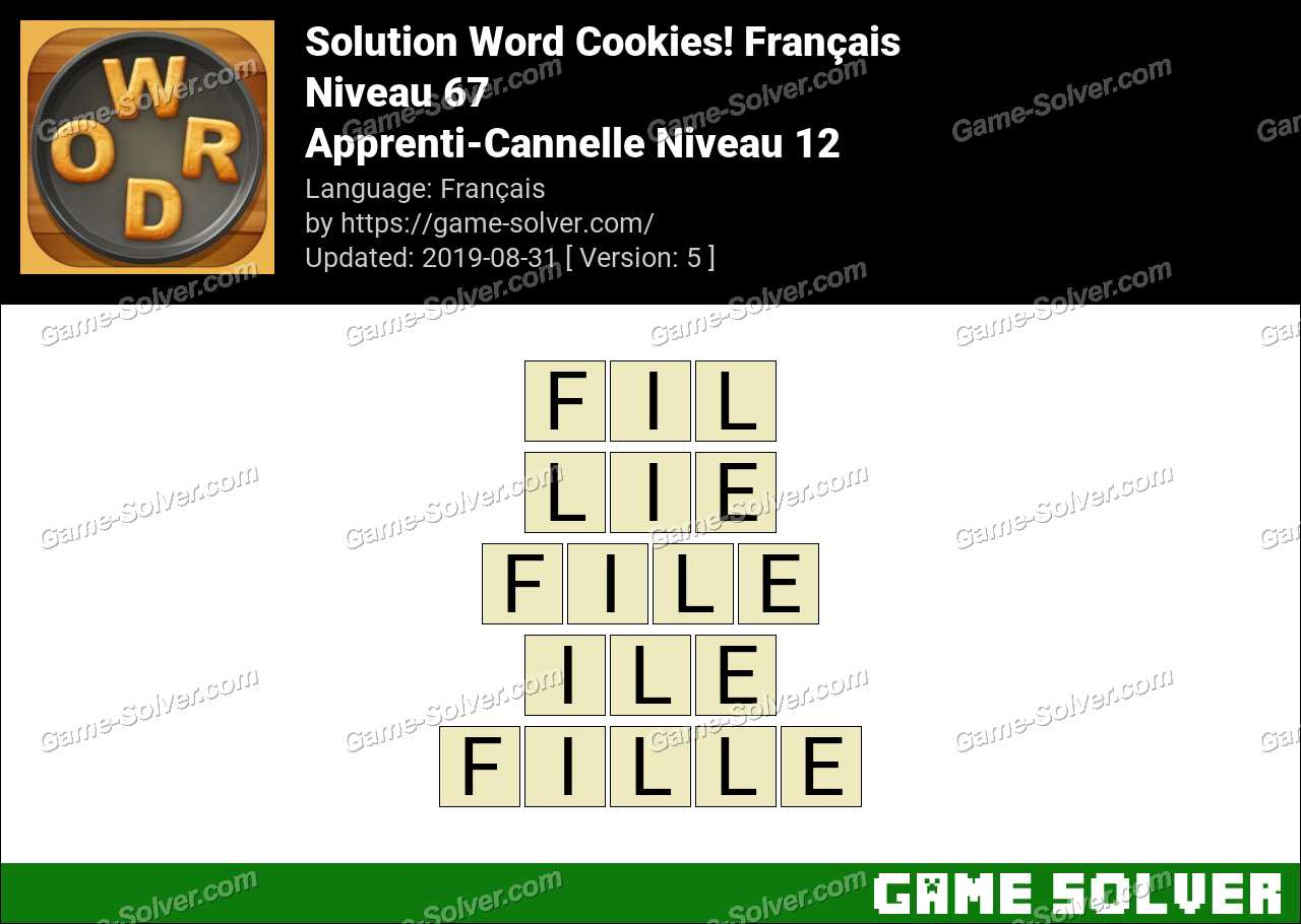 Solution Word Cookies Apprenti-Cannelle Niveau 12
