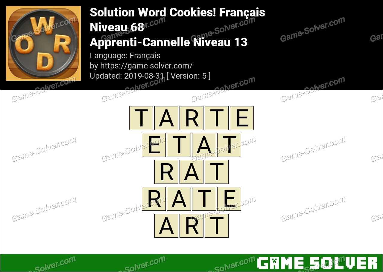 Solution Word Cookies Apprenti-Cannelle Niveau 13
