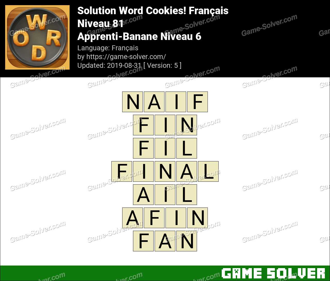 Solution Word Cookies Apprenti-Banane Niveau 6
