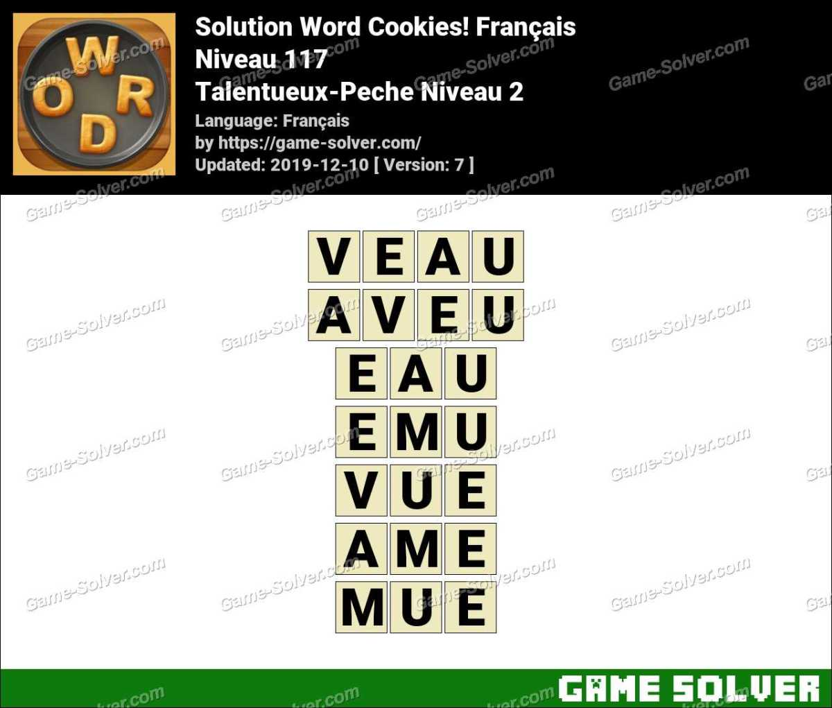 Solution Word Cookies Talentueux-Peche Niveau 2