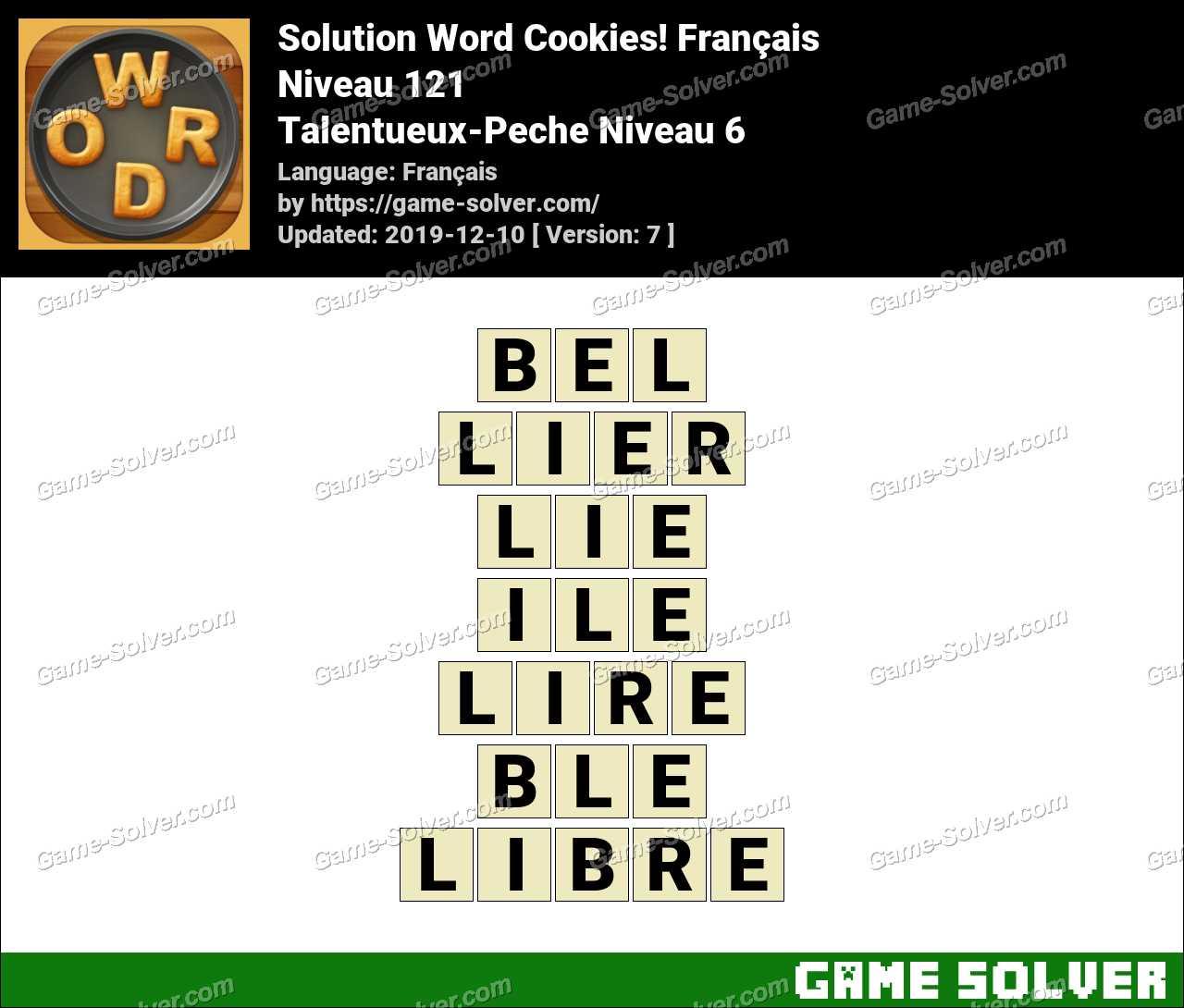 Solution Word Cookies Talentueux-Peche Niveau 6