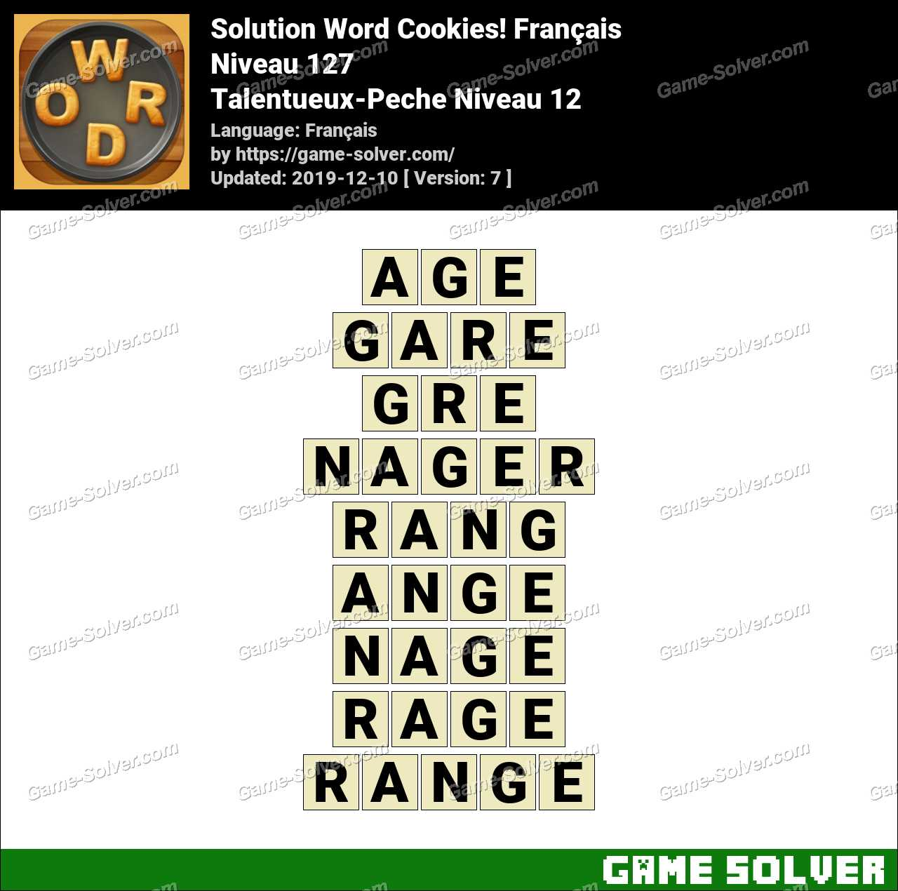 Solution Word Cookies Talentueux-Peche Niveau 12