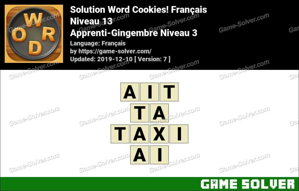 Solution Word Cookies Apprenti-Gingembre Niveau 3