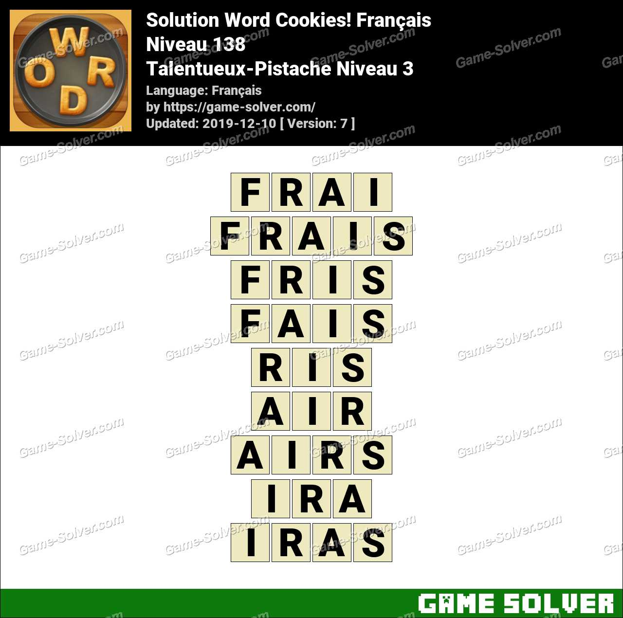 Solution Word Cookies Talentueux-Pistache Niveau 3