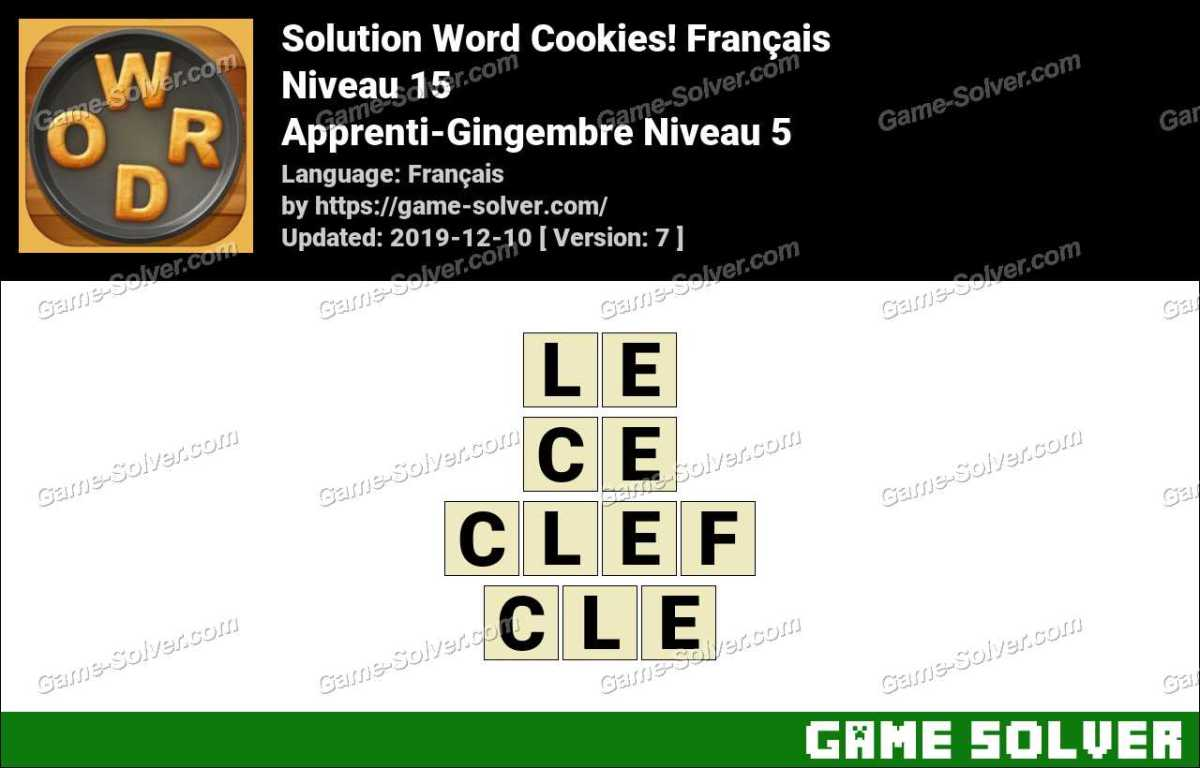 Solution Word Cookies Apprenti-Gingembre Niveau 5