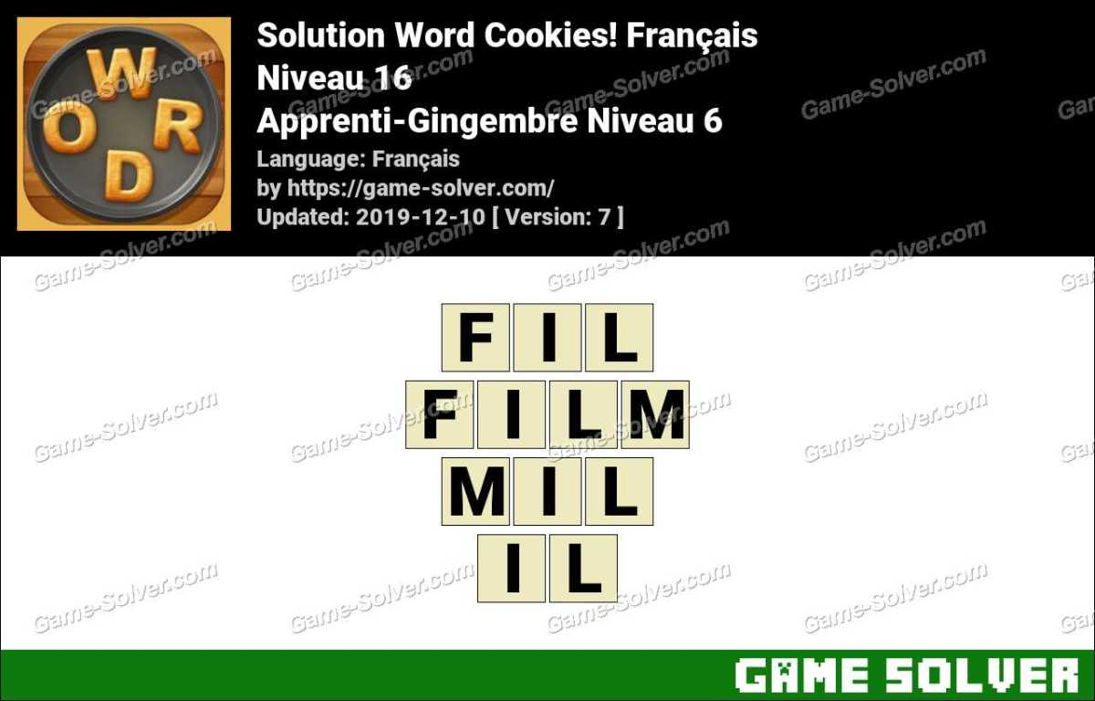 Solution Word Cookies Apprenti-Gingembre Niveau 6