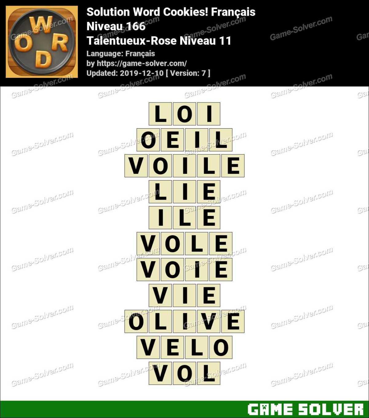 Solution Word Cookies Talentueux-Rose Niveau 11