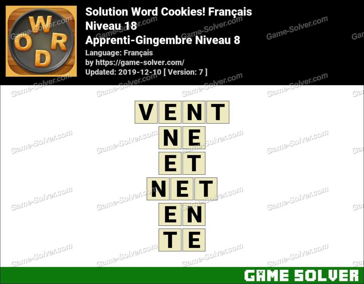 Solution Word Cookies Apprenti-Gingembre Niveau 8