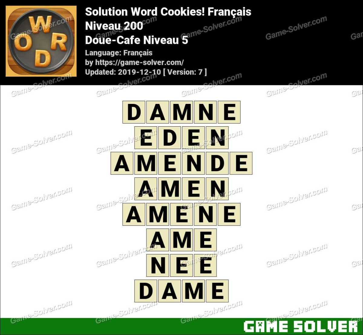 Solution Word Cookies Doue-Cafe Niveau 5
