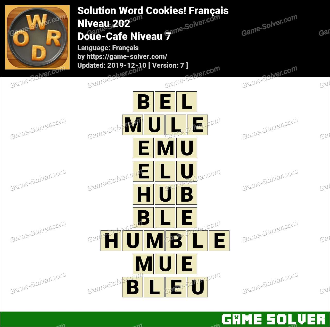 Solution Word Cookies Doue-Cafe Niveau 7