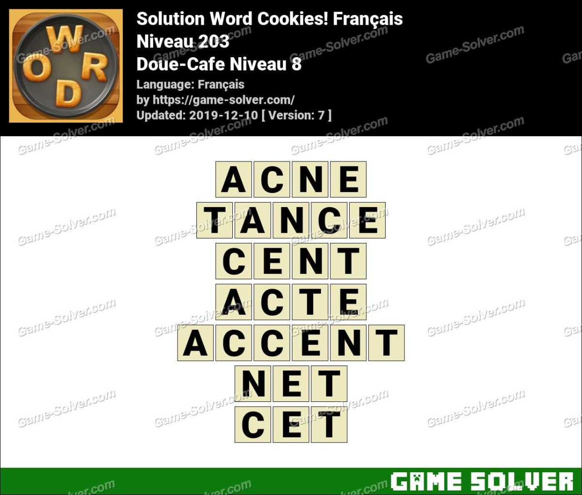 Solution Word Cookies Doue-Cafe Niveau 8