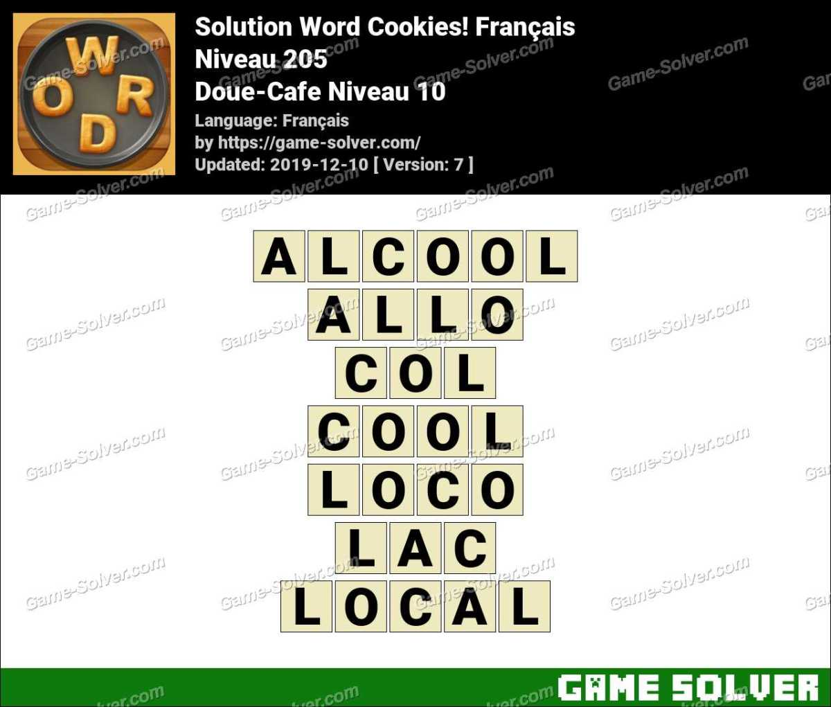 Solution Word Cookies Doue-Cafe Niveau 10