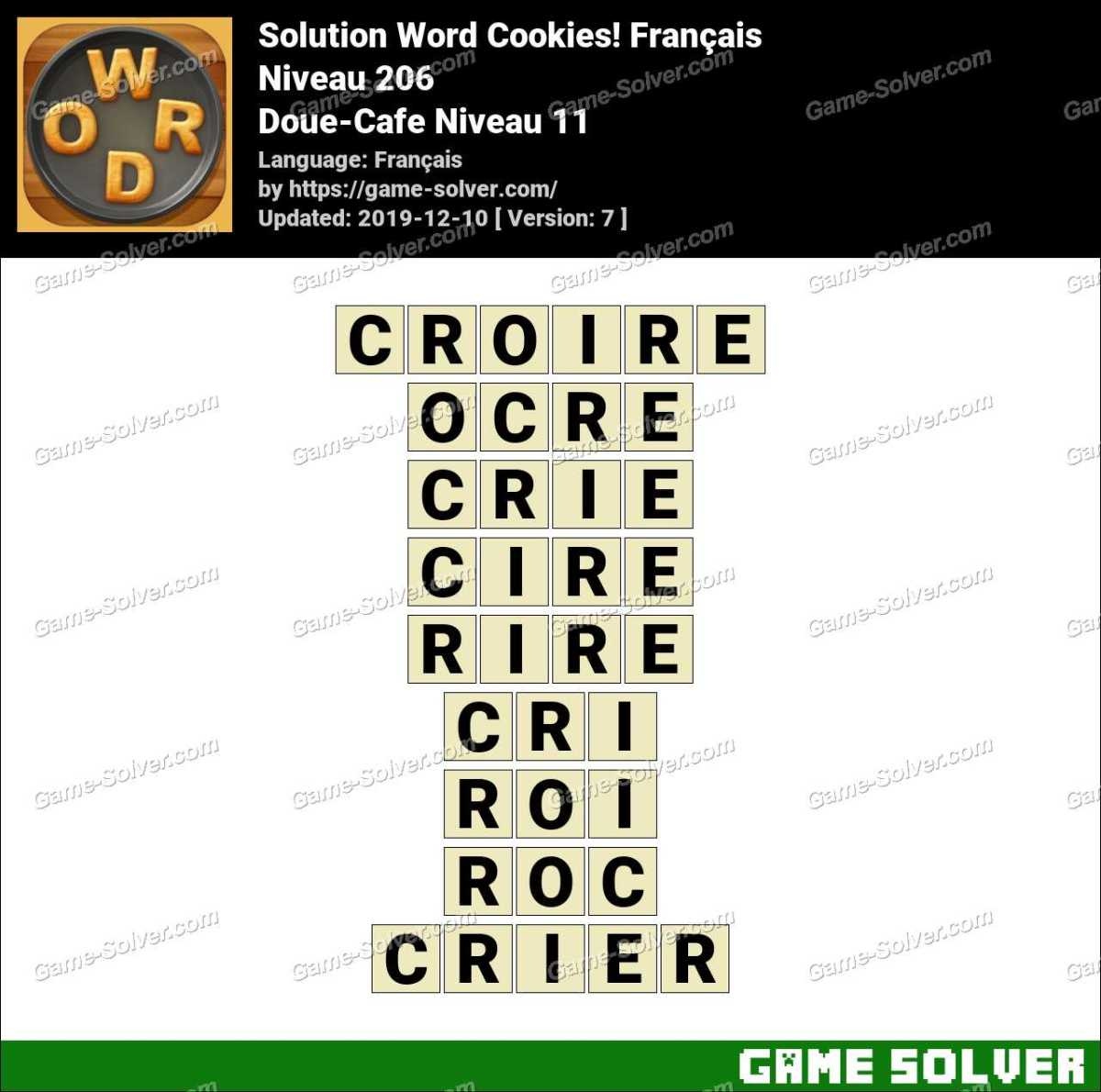 Solution Word Cookies Doue-Cafe Niveau 11