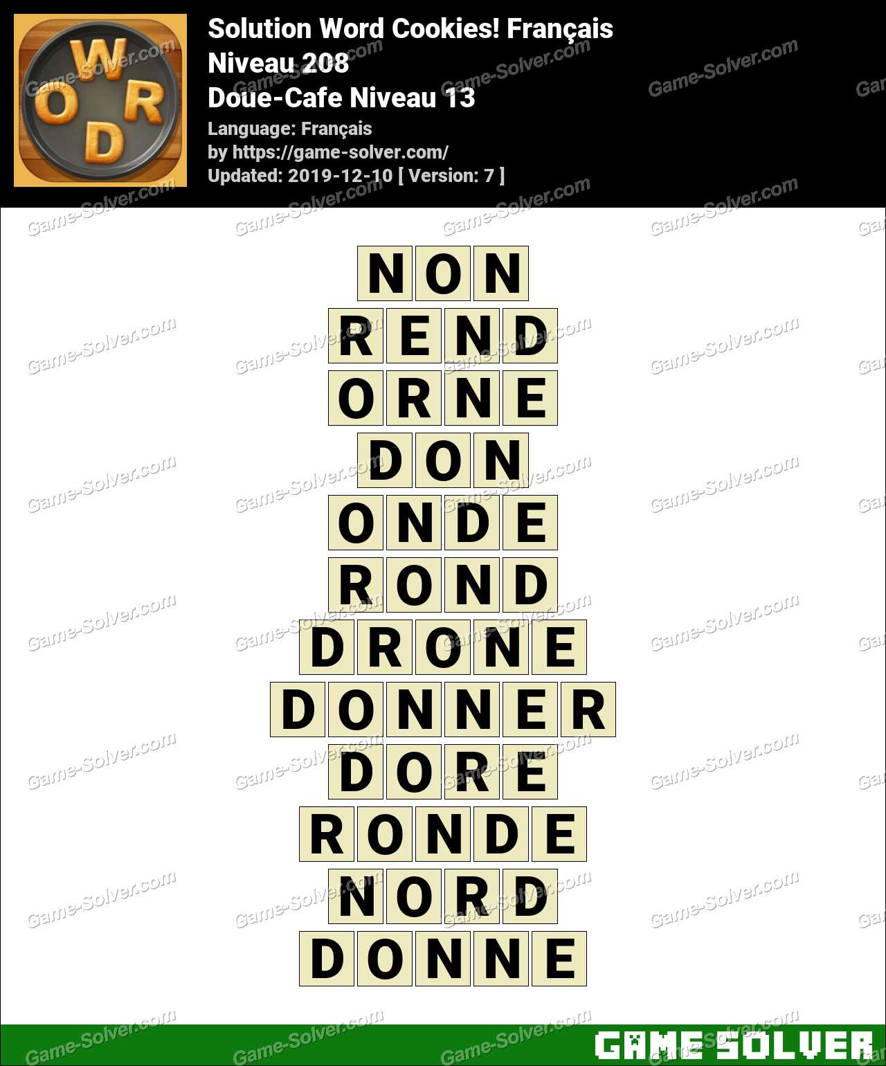 Solution Word Cookies Doue-Cafe Niveau 13