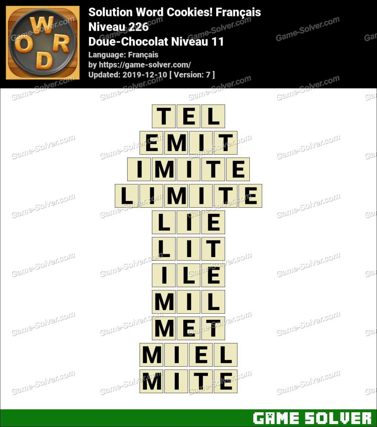 Solution Word Cookies Doue-Chocolat Niveau 11