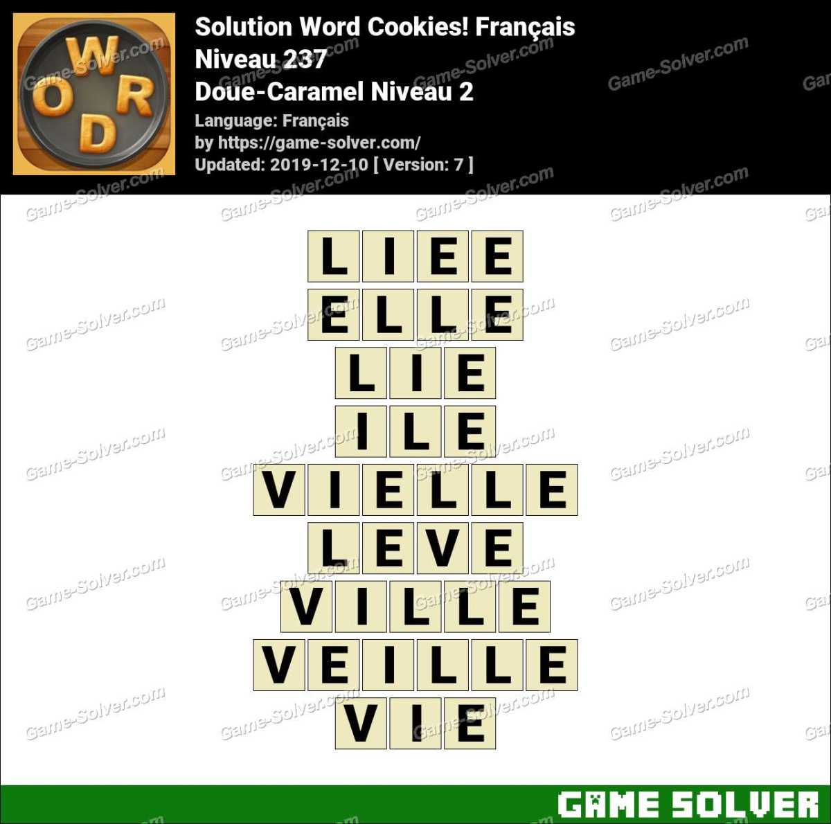 Solution Word Cookies Doue-Caramel Niveau 2