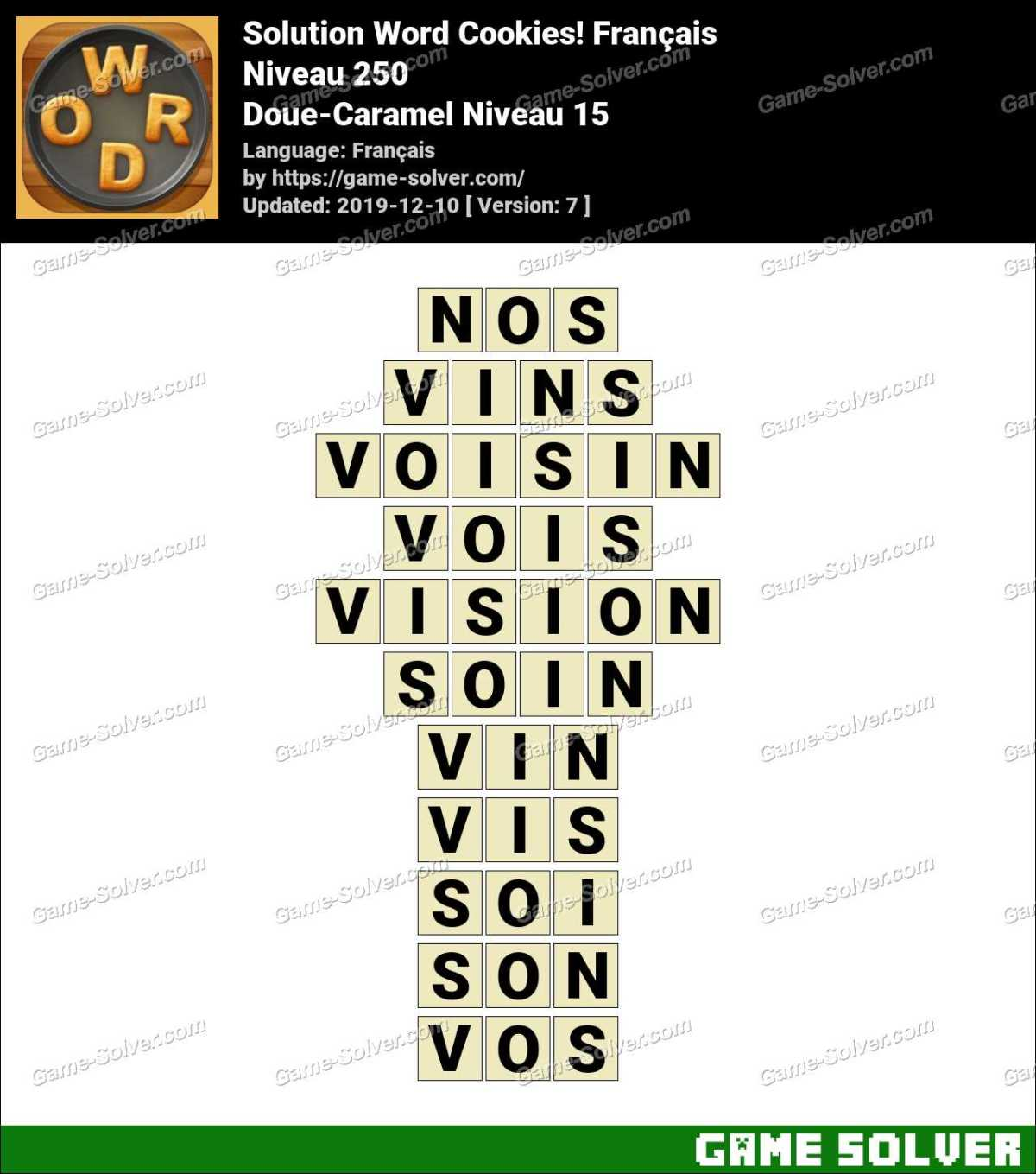 Solution Word Cookies Doue-Caramel Niveau 15