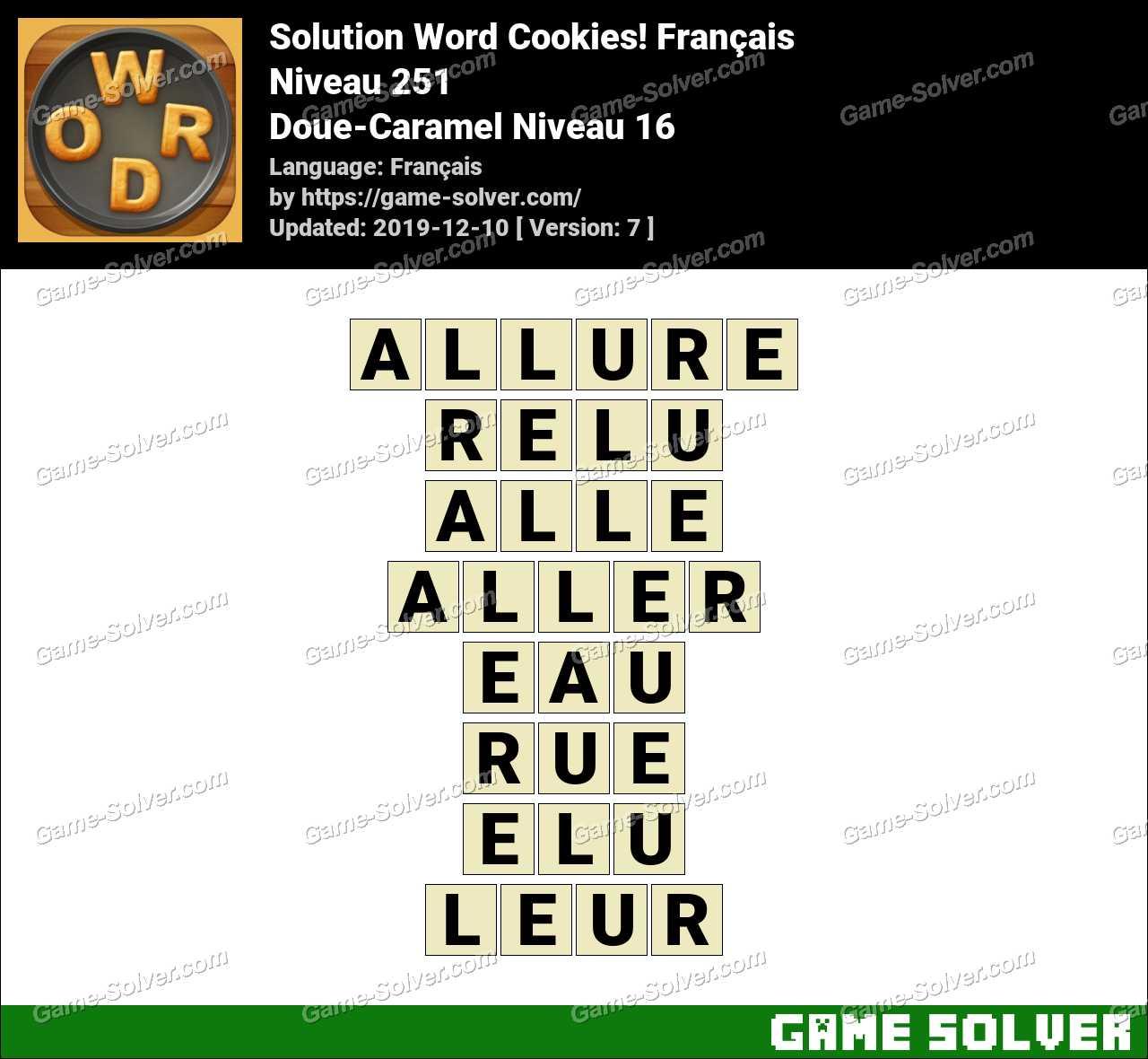Solution Word Cookies Doue-Caramel Niveau 16