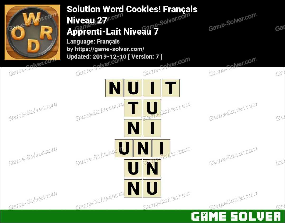 Solution Word Cookies Apprenti-Lait Niveau 7