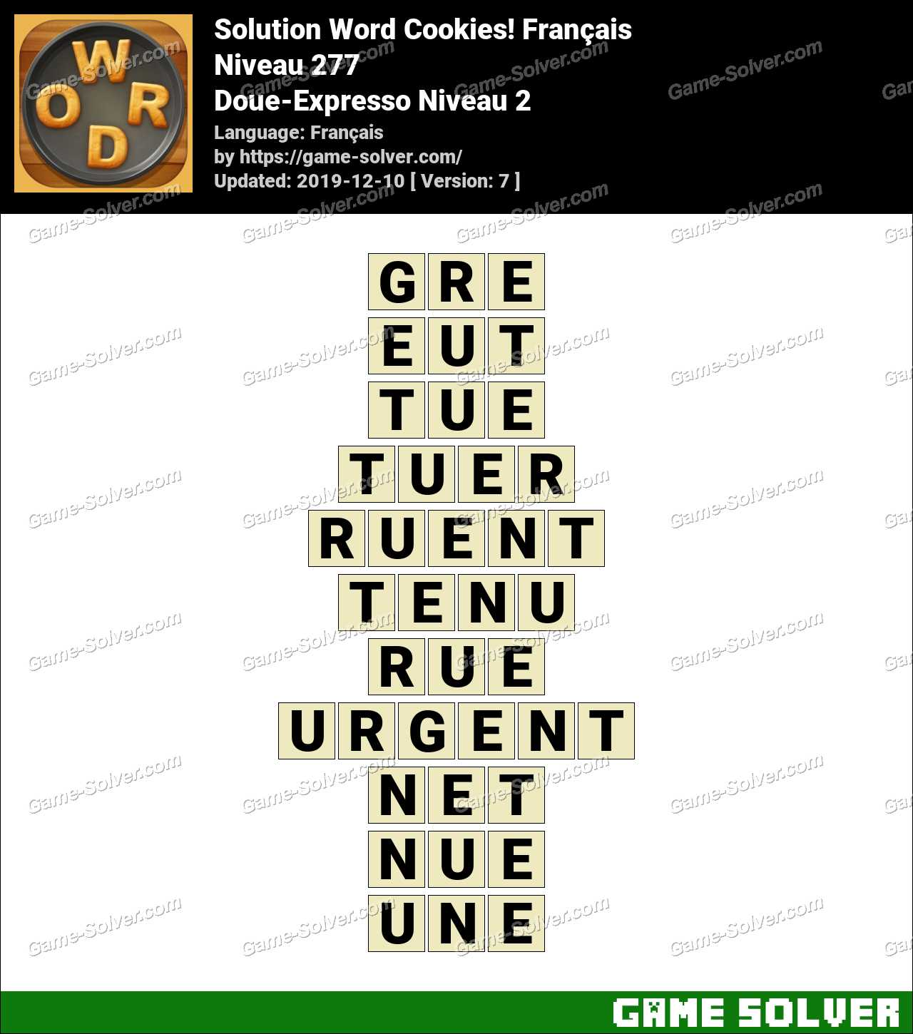 Solution Word Cookies Doue-Expresso Niveau 2