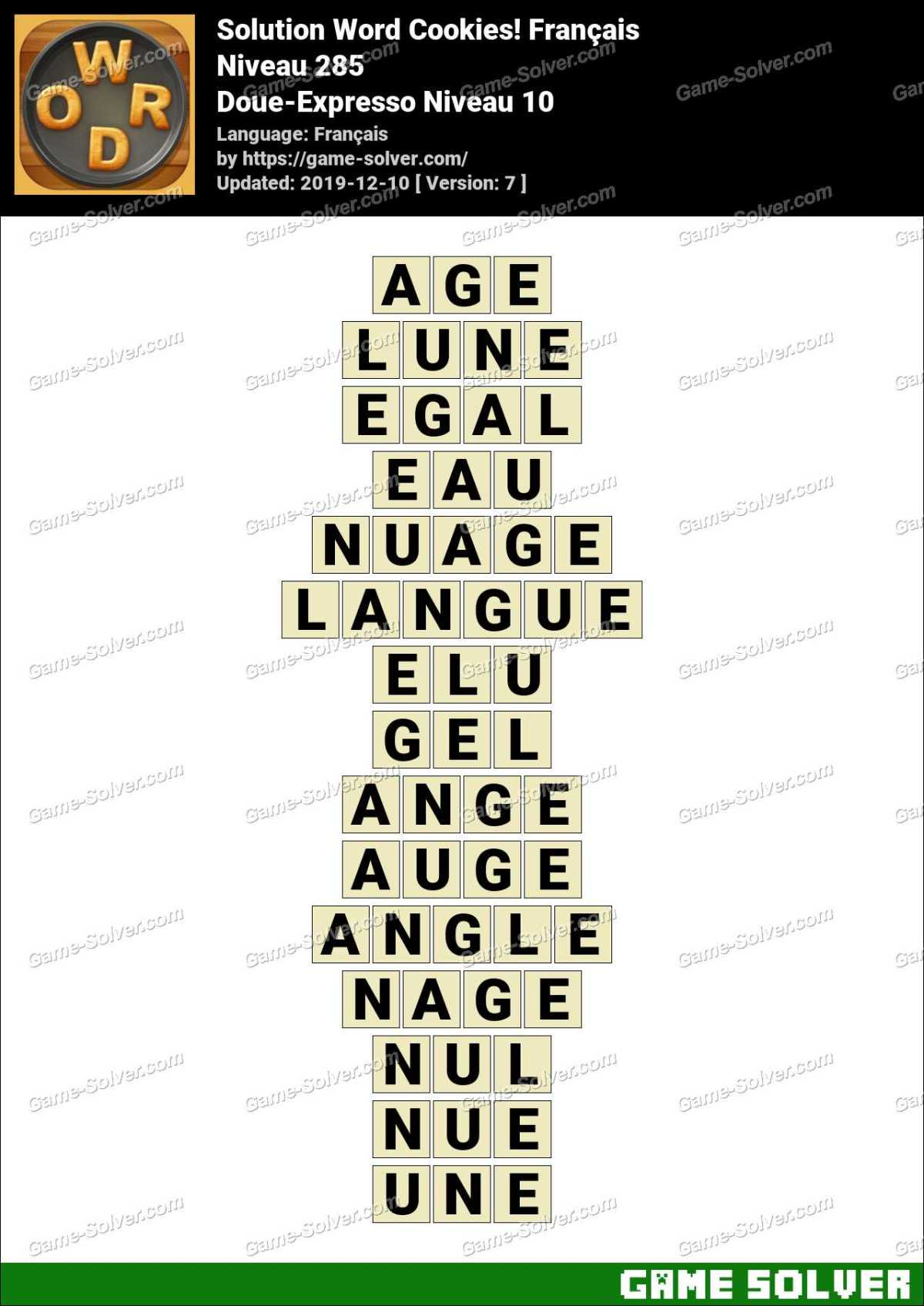 Solution Word Cookies Doue-Expresso Niveau 10