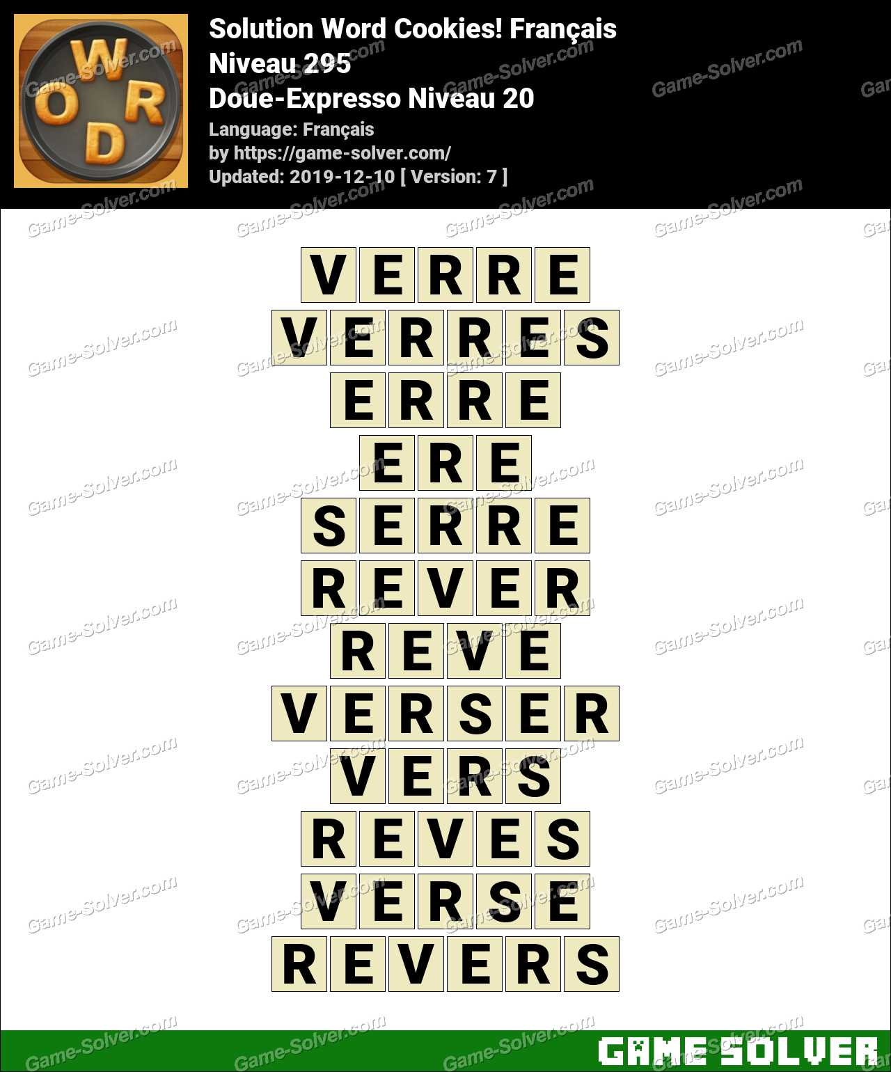 Solution Word Cookies Doue-Expresso Niveau 20