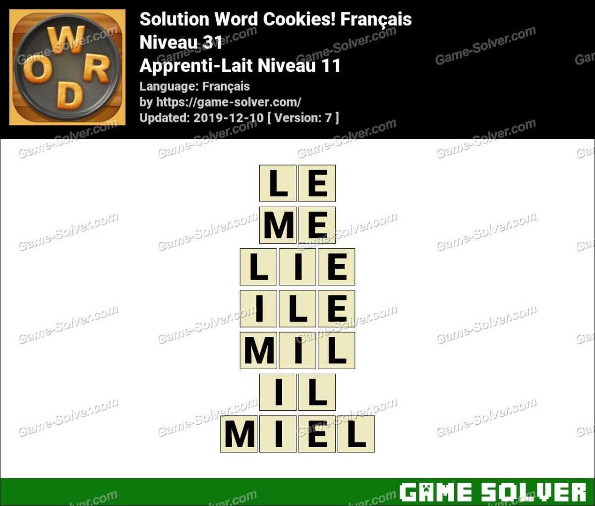 Solution Word Cookies Apprenti-Lait Niveau 11