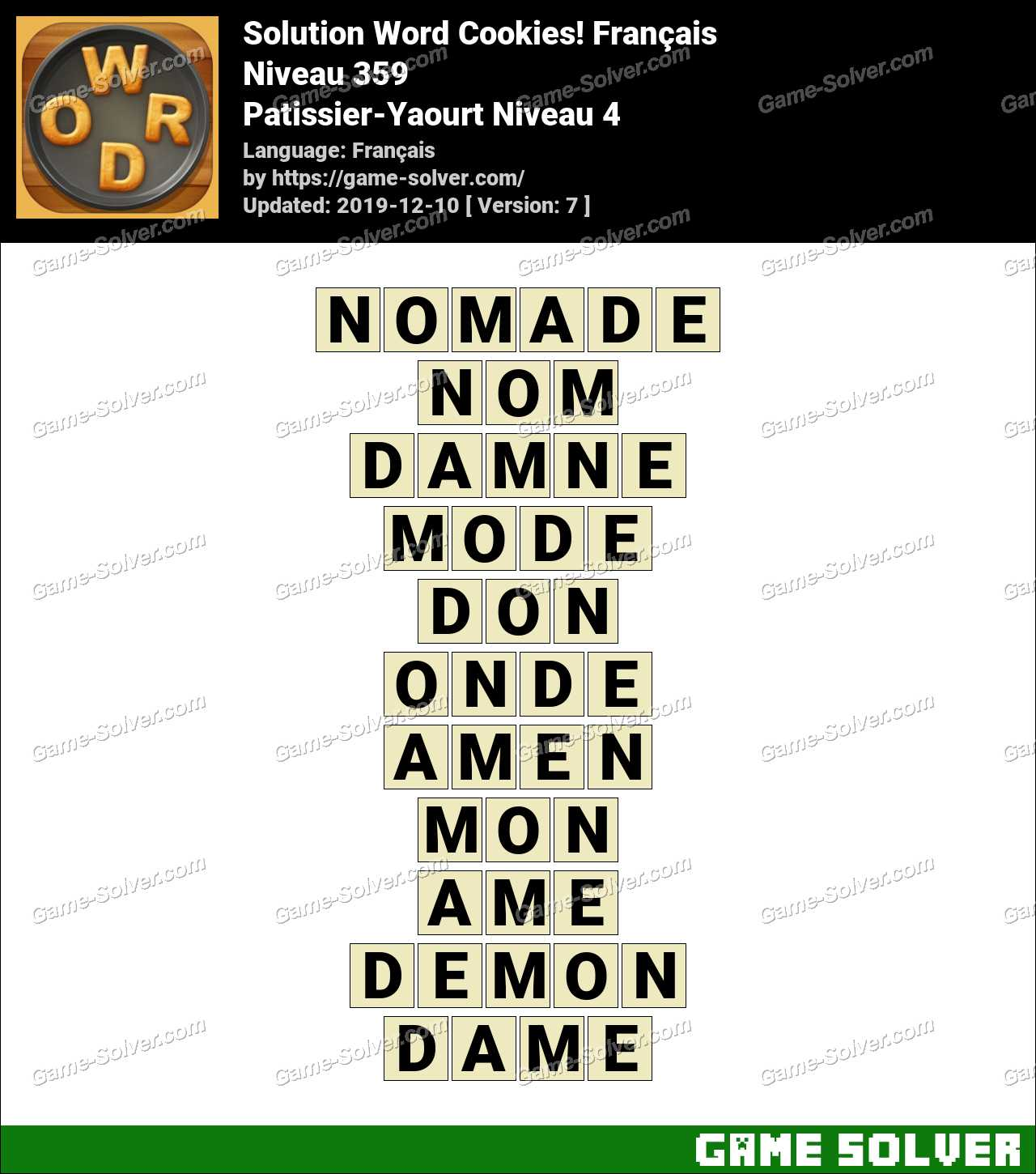 Solution Word Cookies Patissier-Yaourt Niveau 4