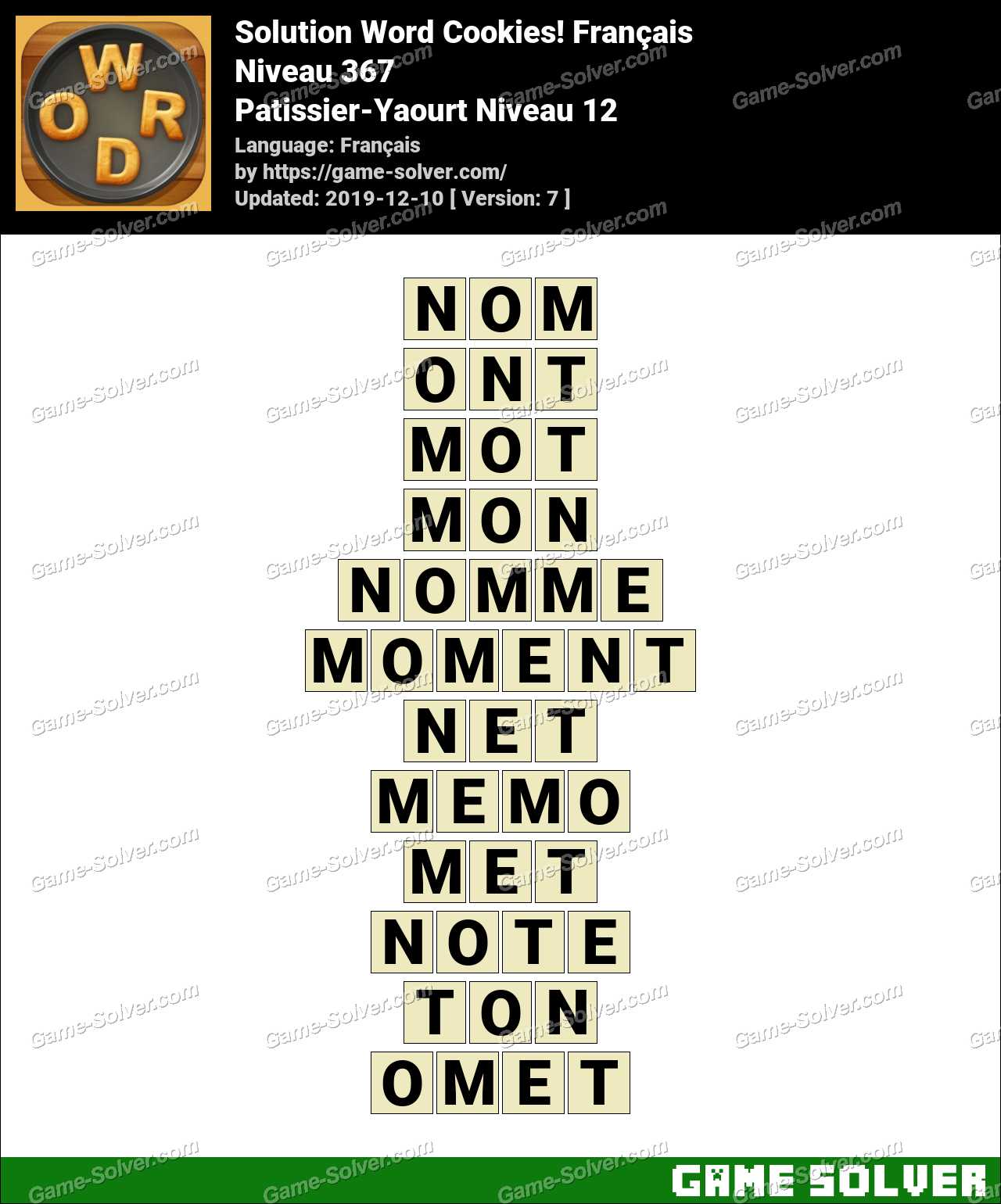 Solution Word Cookies Patissier-Yaourt Niveau 12