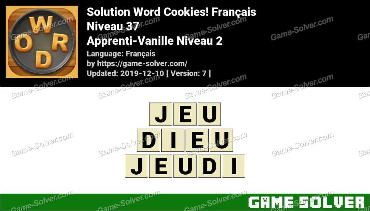 Solution Word Cookies Apprenti-Vanille Niveau 2