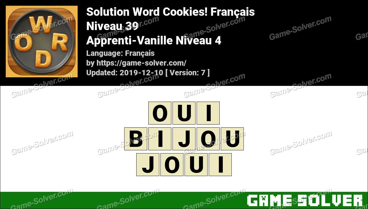 Solution Word Cookies Apprenti-Vanille Niveau 4