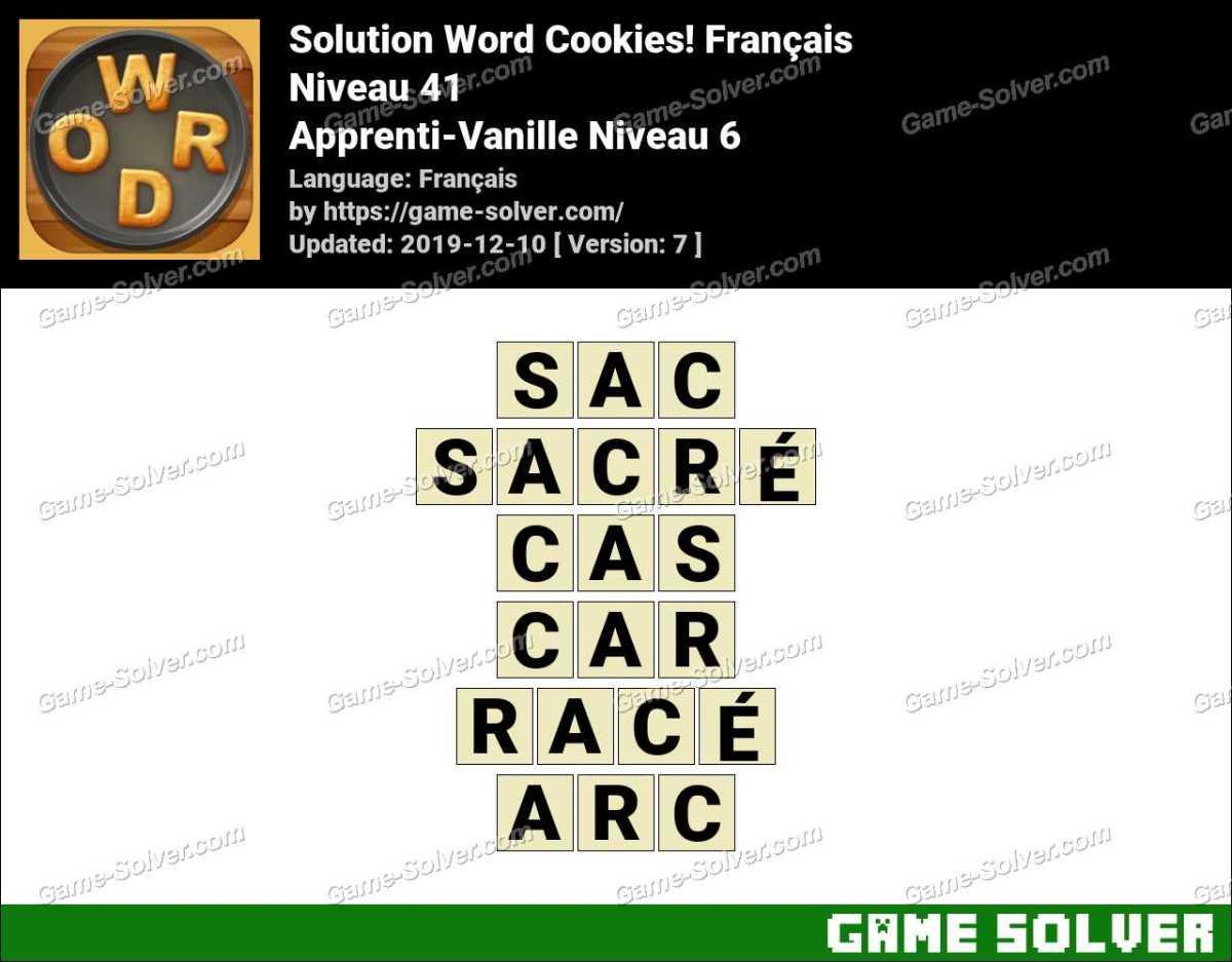 Solution Word Cookies Apprenti-Vanille Niveau 6