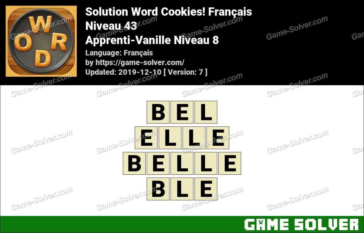 Solution Word Cookies Apprenti-Vanille Niveau 8