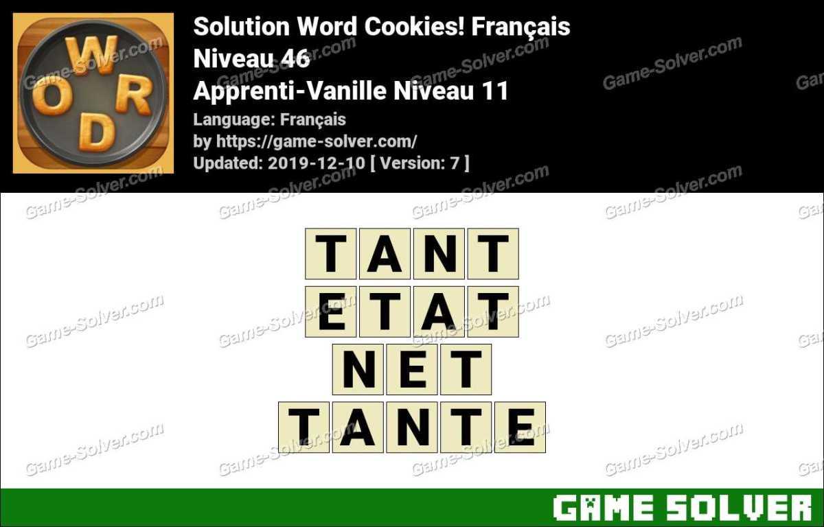 Solution Word Cookies Apprenti-Vanille Niveau 11
