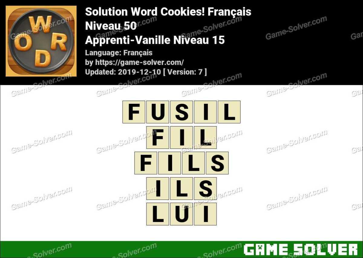 Solution Word Cookies Apprenti-Vanille Niveau 15