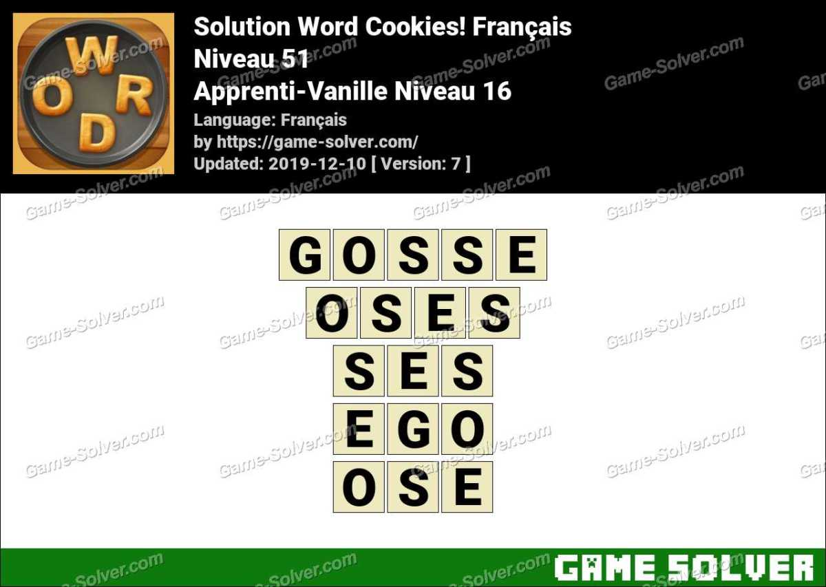 Solution Word Cookies Apprenti-Vanille Niveau 16