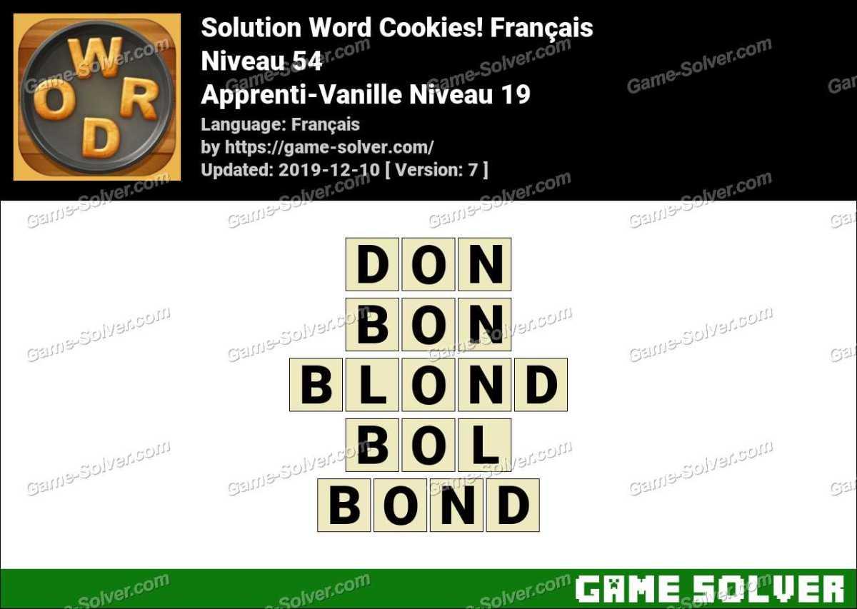 Solution Word Cookies Apprenti-Vanille Niveau 19