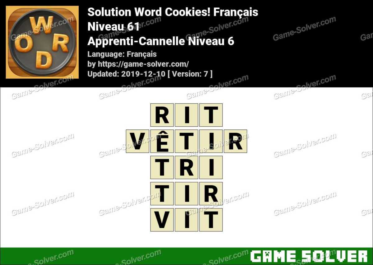 Solution Word Cookies Apprenti-Cannelle Niveau 6