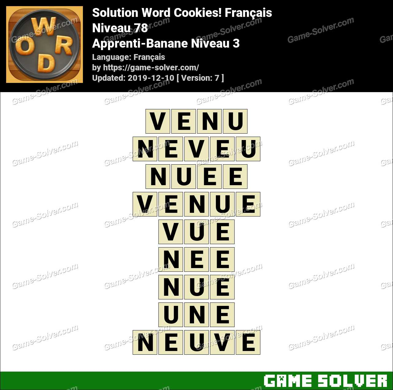 Solution Word Cookies Apprenti-Banane Niveau 3