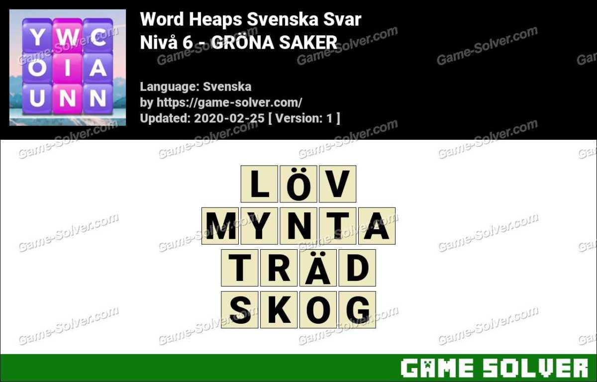 Word Heaps Nivå 6 - GRÖNA SAKER