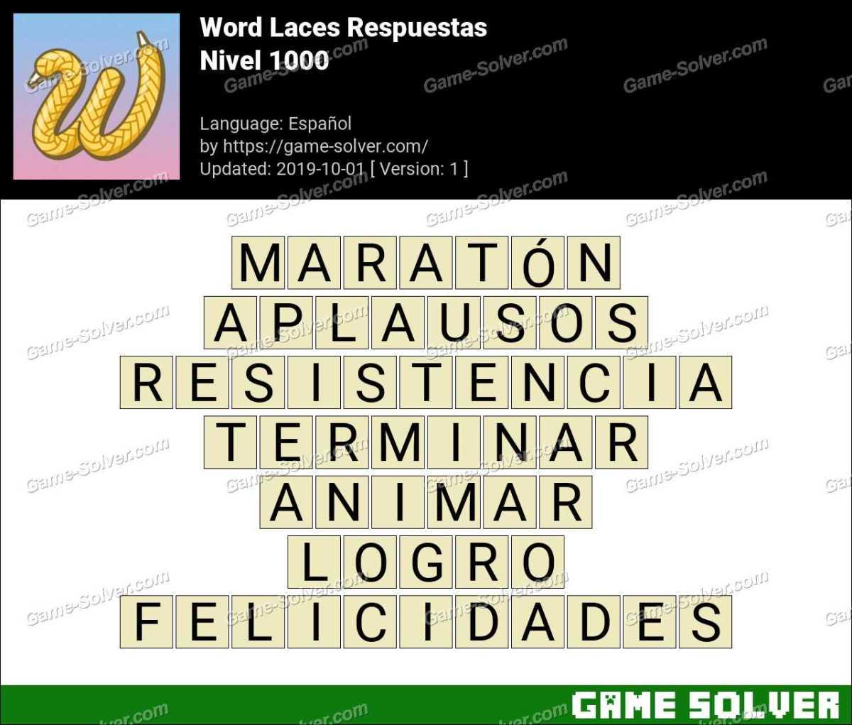 Word Laces Nivel 1000 Respuestas