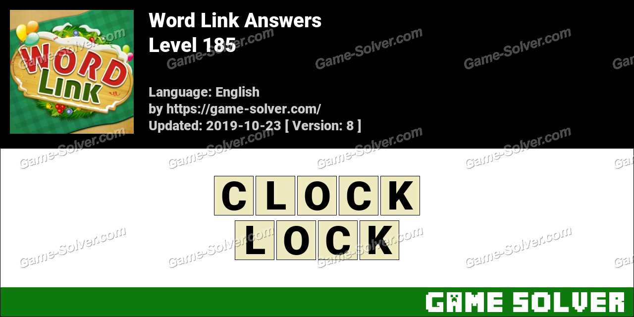 Word Link Level 185 Answers