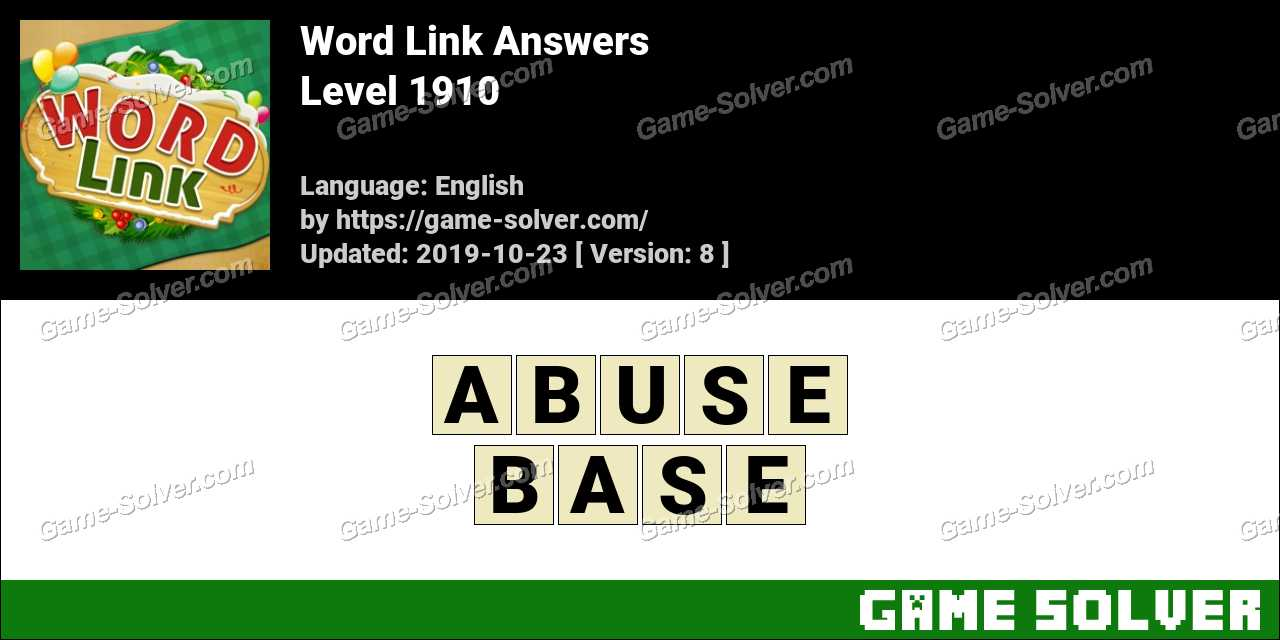 Word Link Level 1910 Answers