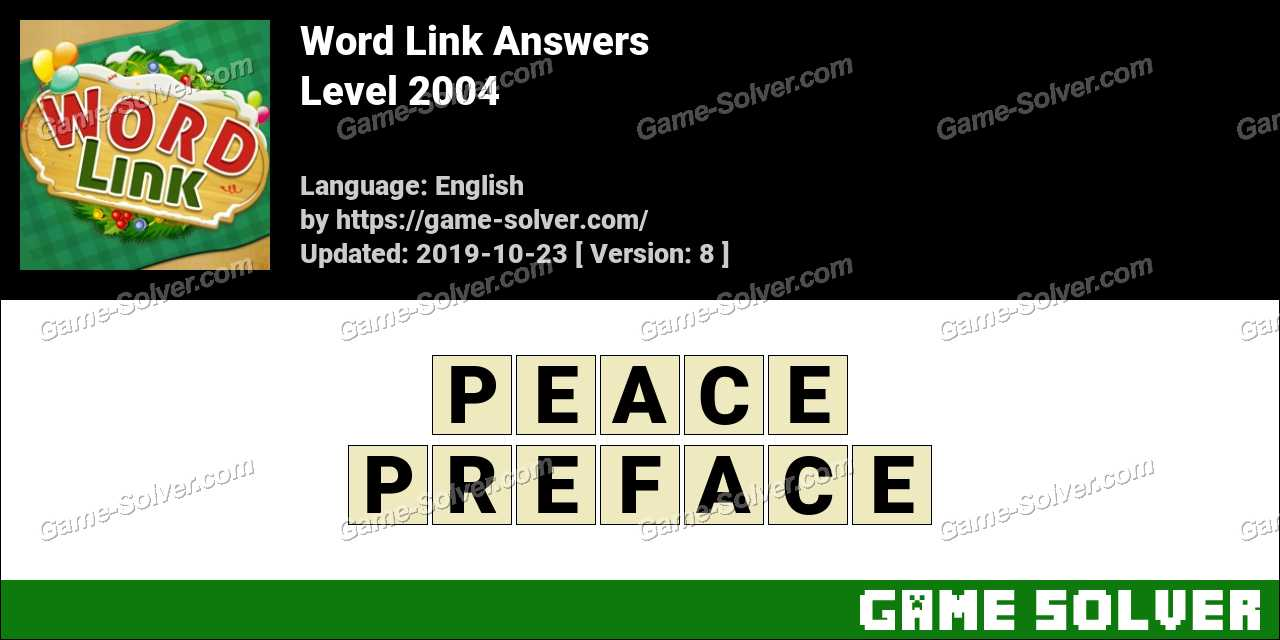 Word Link Level 2004 Answers