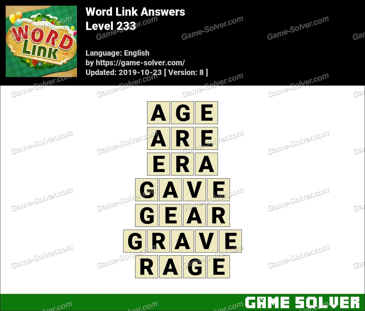Word Link Level 233 Answers