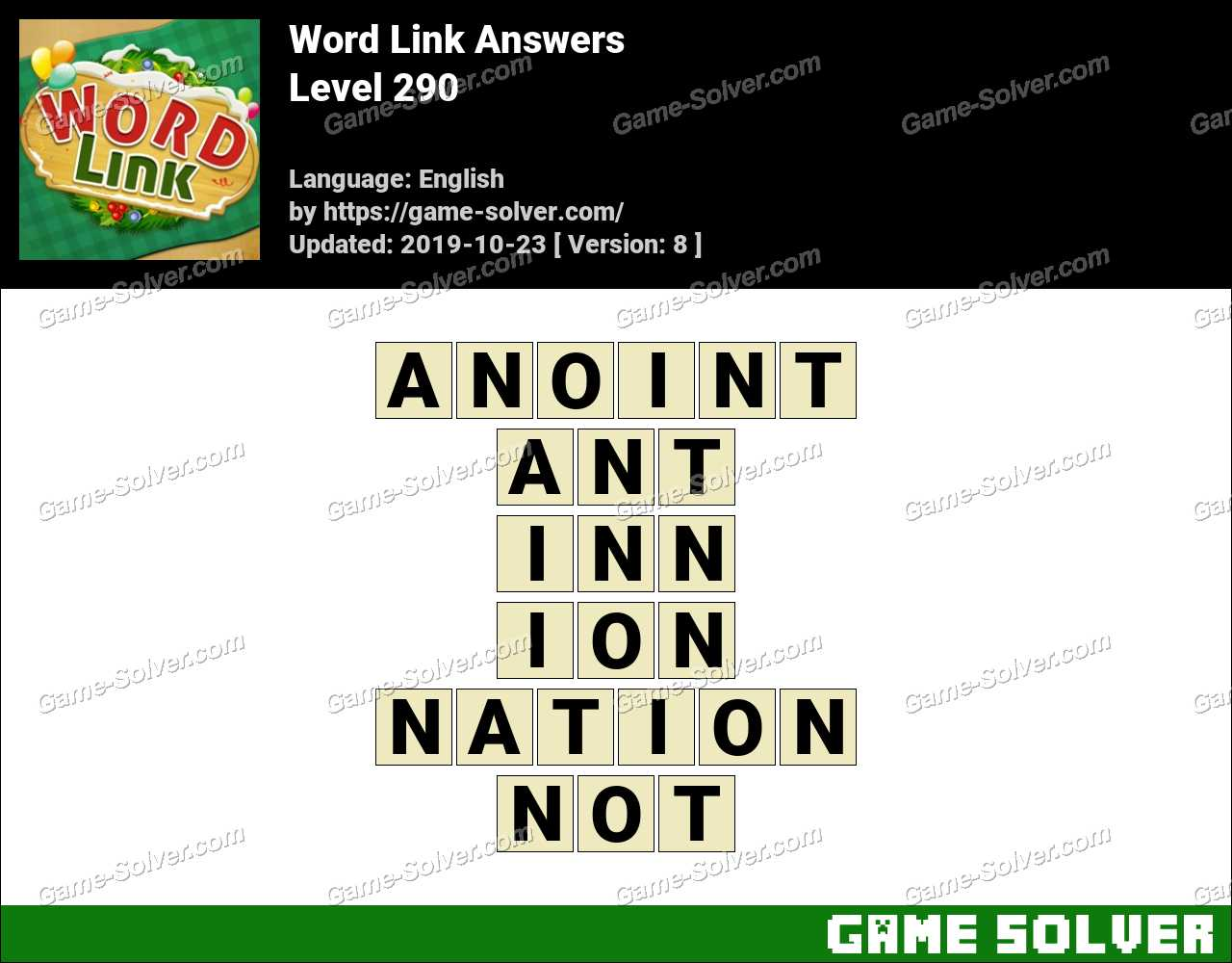 Word Link Level 290 Answers