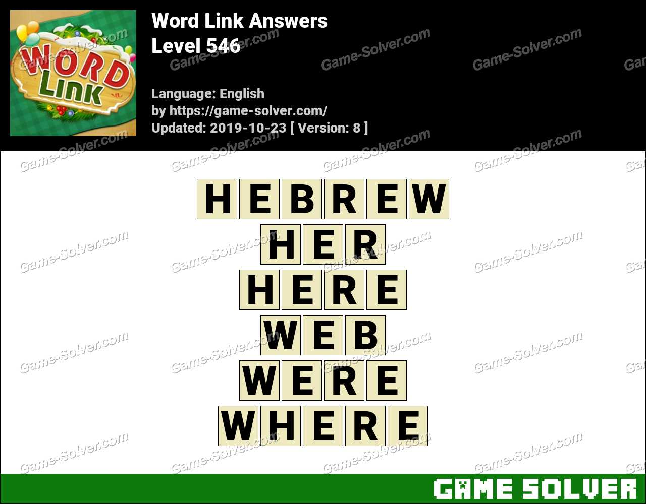 Word Link Level 546 Answers